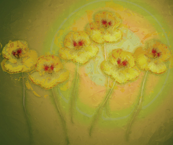 Nasturtium Abstract 3: An abstract, arty image of nasturtiums in yellow and green colours.