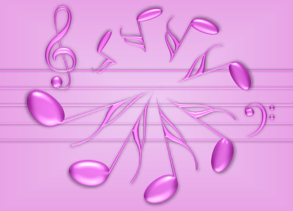 Musicale 2: Abstract 3d musical symbols. Pink on pink and white gradient.