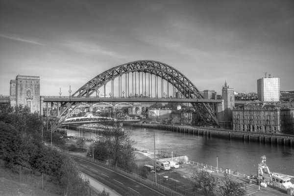 Tyne Bridge: A black and white image of the Iconic landmark in Newcastle Upon Tyne