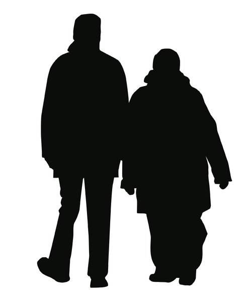 Couple: A silhouette.