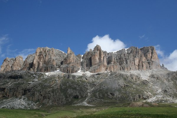Dolomite mountains: A massif of the Dolomite mountains, Italy.