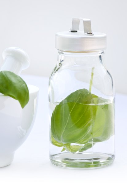Canning herbs: canning basil for vinegar