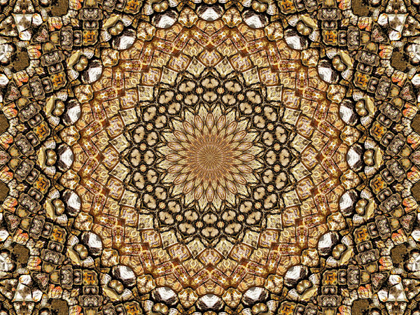 mosaic rock pattern: abstract backgrounds, textures, patterns, geometric patterns, kaleidoscopic patterns, circles, shapes and perspectives from altering and manipulating image