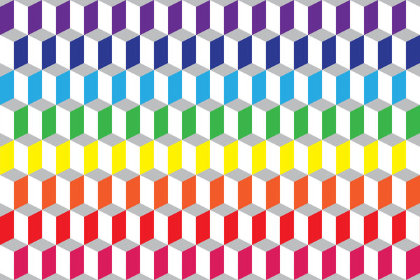 Wallpaper Tumbling Blocks: in happy rainbow colors!!