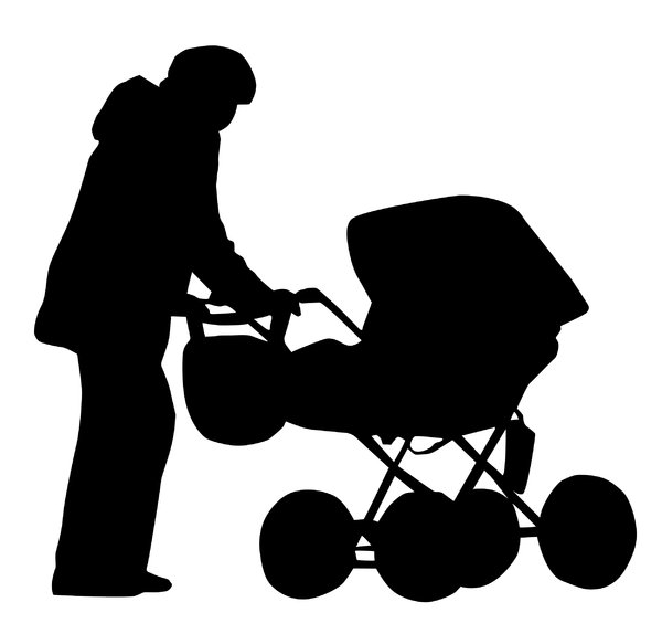 A pram silhouette: A mother with a baby.