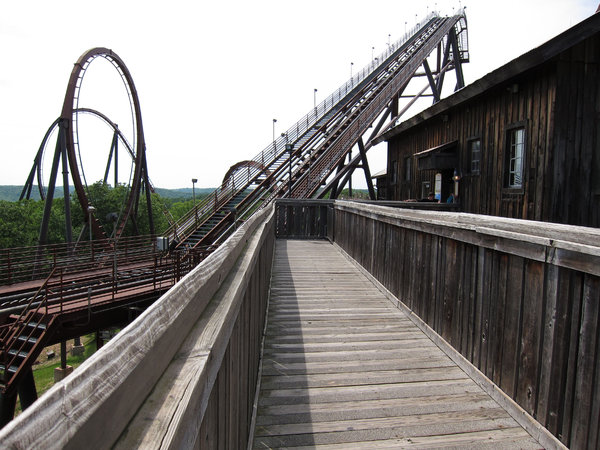Roller Coaster: A roller coaster at an amusement park.