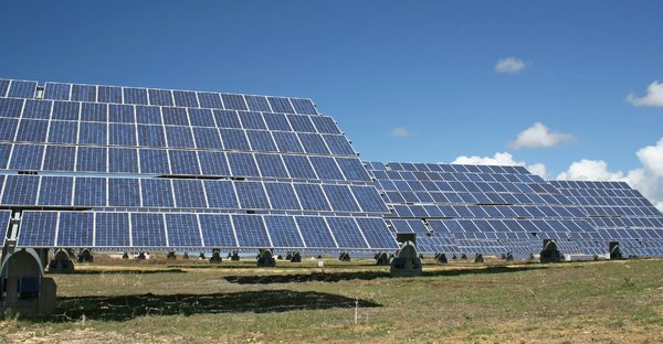 Solar panels: An array of solar panels generating electricity in southern Spain.