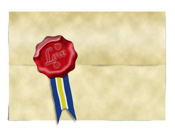 Parchment and love seal: illustration of parchment paper and envelope with red love seal