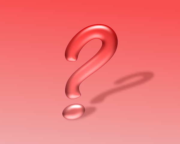 Question Mark 2: Question mark in 3D, with a shadow, against a red coloured background.