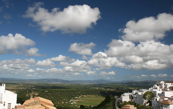 Hilltop view: View from a hilltop town of landscape in Spain.