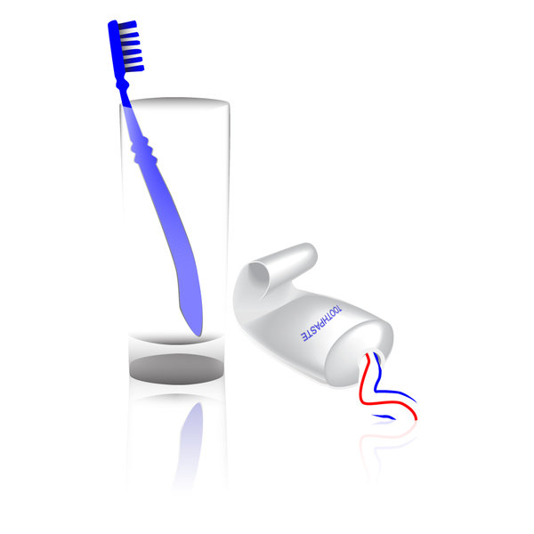 Toothbrush, toothpaste and gla: a vector illustration of dental care