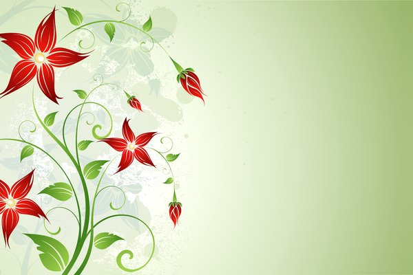 Spring Floral: Green floral with red flowers on the white/green/gray background