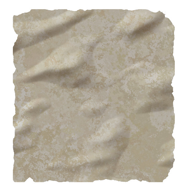 Stained, Torn Paper 2: A sheet of very stained old creased torn paper in beige colours against a plain white background.