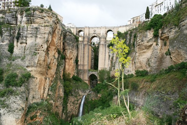 Bridge across a gorge: The bridge across the gorge at Ronda, Andalucia, Spain.