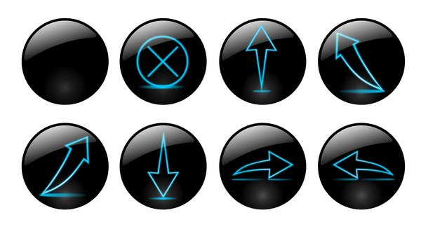 Neon's arrows: A lot of glossy web buttons