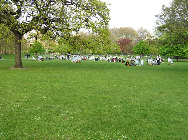 St James's Park: St James's Park in London. People resting on the lawn.