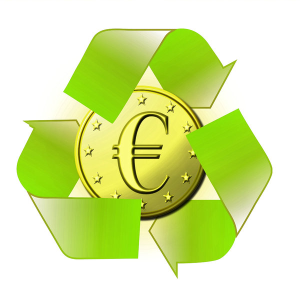 Recycling: Recycling sign with euro
