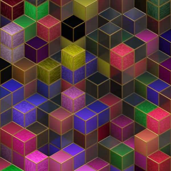 Blocks 2: An abstract image of colourful translucent textured 3d blocks with metallic edges, in a variety of colours. Great backgound or texture. Hi-res.