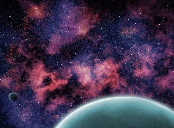 Planets and Nebula: Digitally rendered planets against nebula.