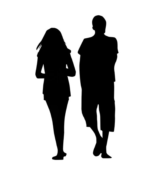 Walking couple: A pair of young people.