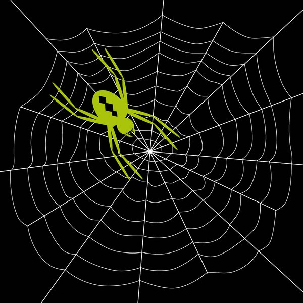 Arachnophobia 2: Spooky spider on web.  White on black.