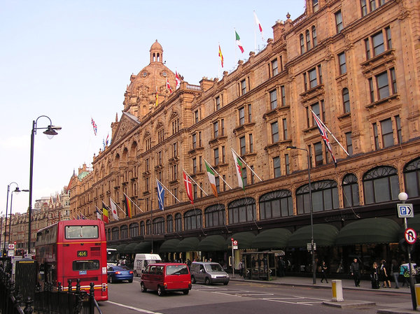 Harrods: Harrods is an upmarket department store located in Brompton Road in Brompton, in the Royal Borough of Kensington and Chelsea, London. On Wednesday, 16 November 1898, Harrods debuted England's first