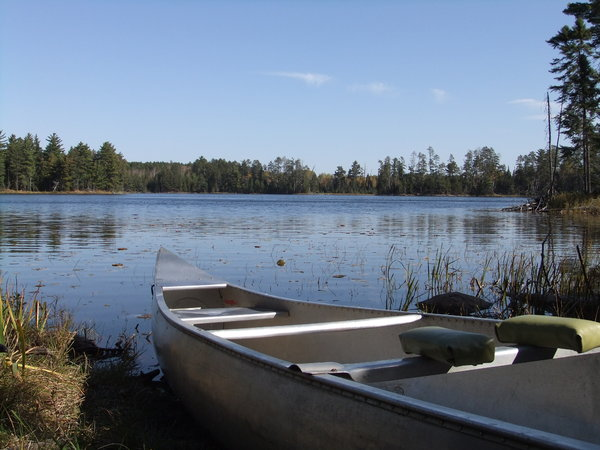 Canoe on the Lake: this canoe frames the beauty of this remote lake.