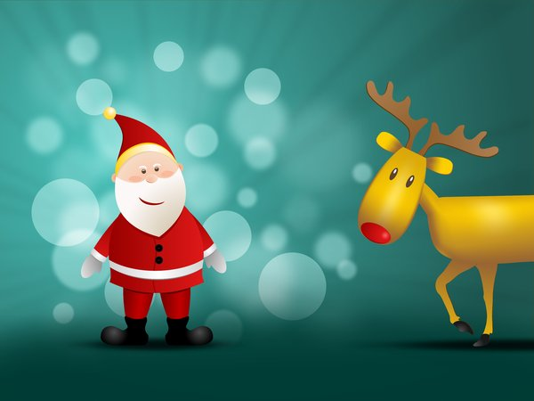 Santa Claus and Rudolf: Santa Claus and Rudolf reindeer on a blue-green background