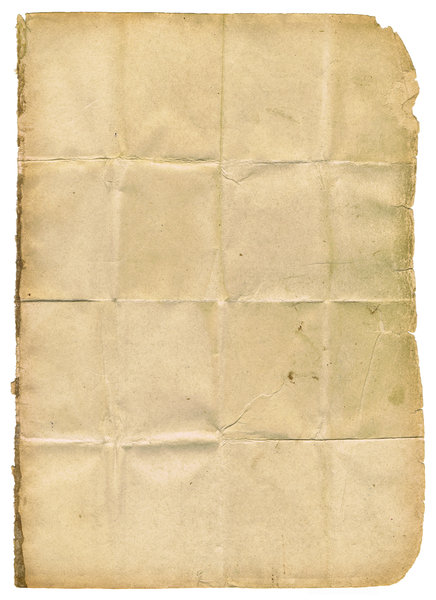 Folded Papier: An isolated folded page from a very old book.