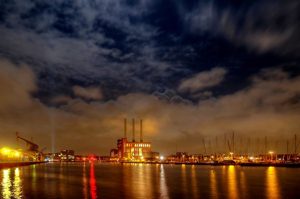 Harbour light - HDR: Copenhagen North Harbour in moonlight. The image is HDR.