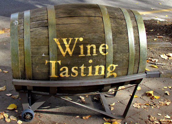 barrel promotion: old wooden wine barrel used for promotion