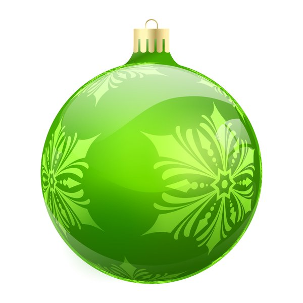 Christmas Elements - Bauble 1: Christmas bauble with snowflakes on the white background