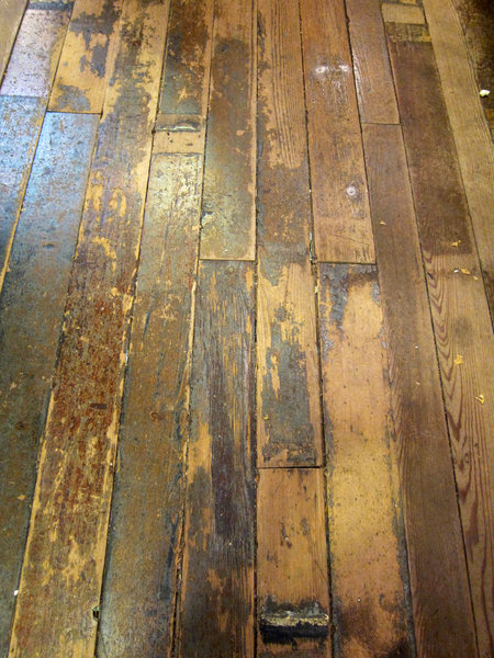 Wood Floor: Wood floor boards in an old building.