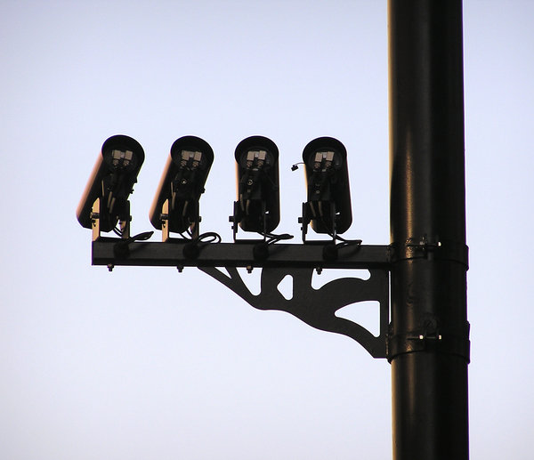 CCTV Cameras: Some CCTV cameras high above your head.
