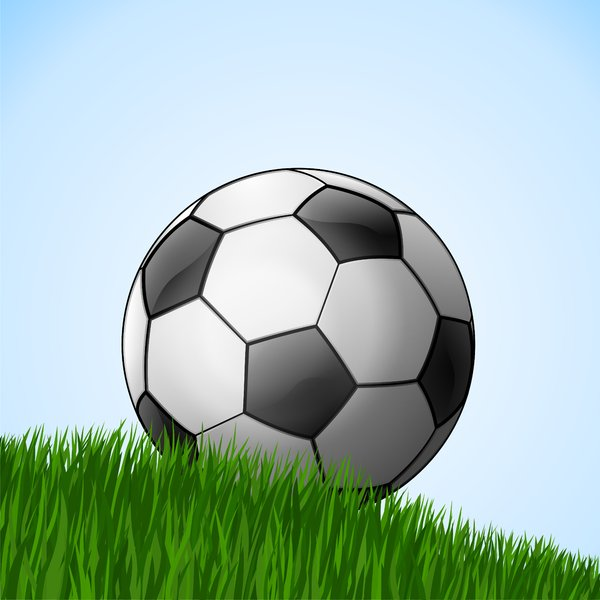 Football 1: Football on the grass - blue background