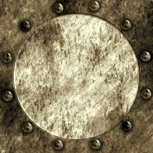 Rivets and Seal: Industrial or steampunk image of a rivetted circular seal or manhole.