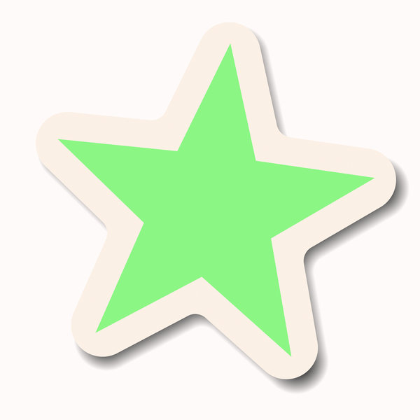 Star Sticker 3: A green pastel star sticker with a white border. Makes a great attention-getting announcement bubble, price tag or label.
