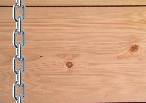 wooden board: Wooden board with chain