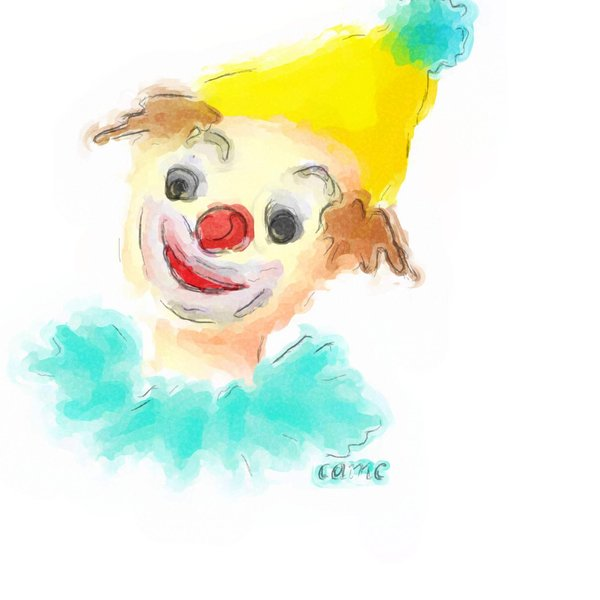 Clown: drawing of a clown, finished as awatercolor sketch