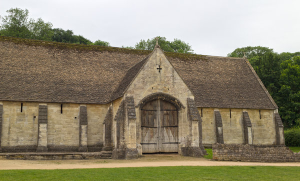 Ancient tithe barn: An ancient tithe barn at Bradford-on-Avon, England. The building is owned by a charitable trust that freely permits photography.