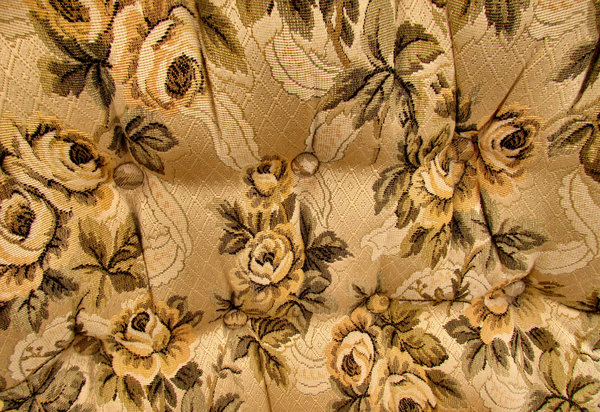 brown rose chair.jpg: fabric pattern and texture of old chair upholstery