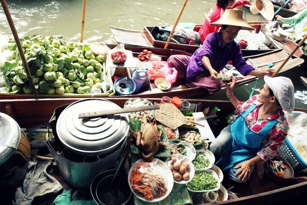 Floating Market 2: Scene from floating market in Bangkok