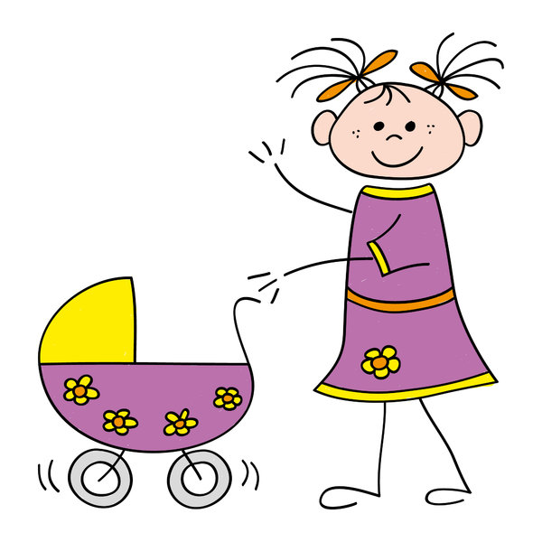 Girl with stroller: Drawing of a little girl with a stroller