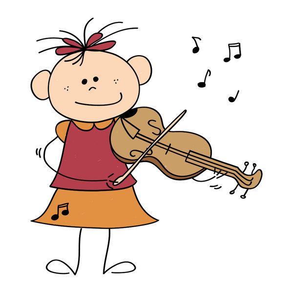 Violin girl: Drawing of a little girl playing the violin