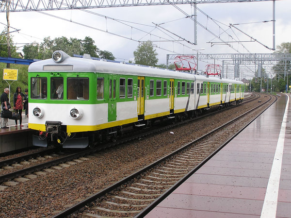 Train at train station: A Polish train in Modlin station.