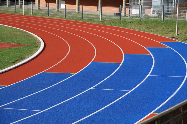 Running Lane 2: Curve of a colored running lane