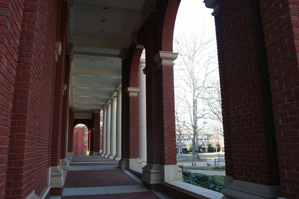 College brick hallway: Building on the campus of Queens University in Charlotte, NC