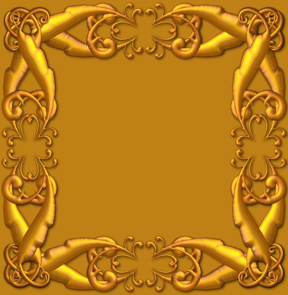 Golden Ornate Border: A golden ornate border or frame on a golden background. Very elegant and old fashioned in a classic style.