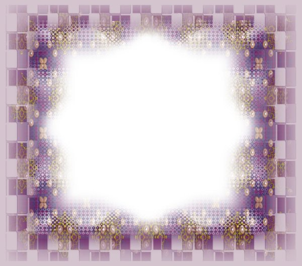 Layered Frame 4: A layered frame in colours of purple, pink, yellow and brown, with pearls and other textures.