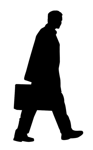 Man with suitcase: A businessman with a suitcase.